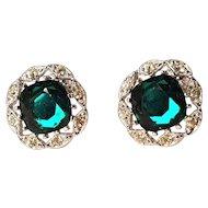 Vintage Sarah Coventry Sliver Tone Blue Green Rhinestone Clip Earrings
