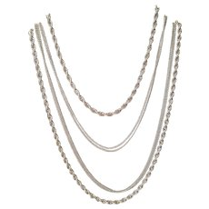Vintage Monet Silver Tone Three Layer Chain Necklace 57 Inches Hang Tag