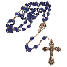 Vintage Brass Rosary Large AB Blue Crystal Glass Beads 25 Inches