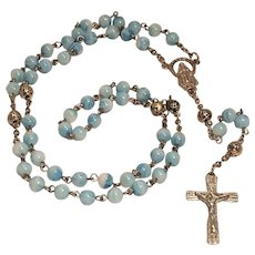 Vintage Rosary with Light Blue and White Glass with Metal Rose Connectors