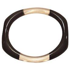 Vintage Black and Clear Lucite Bangle Bracelet Flat And Oval Shape