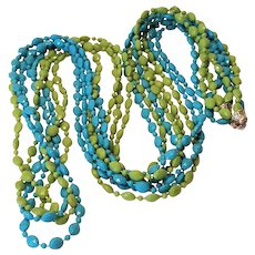 Vintage Retro 1960's Blue And Green Lucite Beaded 47 Inch Necklace