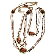 Vintage Sarah Coventry Golden Embers Topaz Color Faceted Stones Three Layer Chain Necklace
