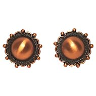 Vintage Native American Style Copper Concho Screwback Earring