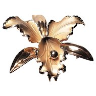 Vintage Beautiful Orchid Pin Gold Tone with Satin Finish