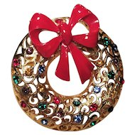 Vintage Filigree Rhinestone Christmas Wreath Pin With Red Bow