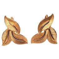 Vintage Crown Trifari Three Leaf Gold Tone Satin Clip Earrings