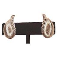 Vintage Monet Silver Tone Satin Clip Earrings
