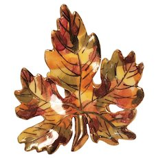 Vintage Fall Leaf Pin Hand Painted Ceramic