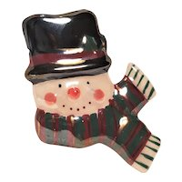 Vintage Ceramic Christmas Snowman Pin