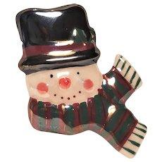 Vintage Ceramic Christmas Snowman Pin
