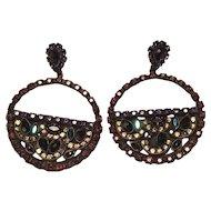 Vintage Antiqued Brass Setting Sorrelli Rhinestone Pierced Dangle Earrings