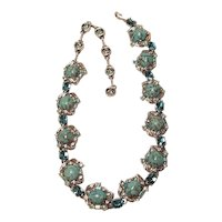Vintage Hollycraft Choker Length Necklace Turquoise Cabochon With Blue Topaz Rhinestones Unsigned