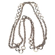 Vintage Monet Rope Chain Necklace With Circles 54 Inches With Hang Tag