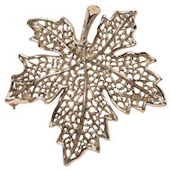 Vintage Sarah Coventry Silver Tone Open Work Leaf Pin