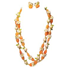 Vintage Plastic Daisy Flowers and Orange Beaded Necklace and Clip Earring Set