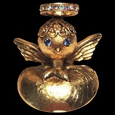 Vintage Christmas Angel Shoulder Pin by Tortolani Rare Back Two Pins
