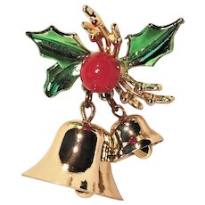 Vintage Enamel Christmas Bell Pin With Ringing Clappers