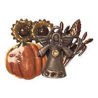 Vintage KC Fall Harvest Angel Pin With Pumpkins Sunflowers and Cat Tails