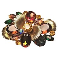 Vintage Juliana & Elster DeLizza Fall Colors Watermelon And Leave Rhinestone Brooch