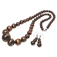 Vintage Large Variegated Copper Bead Necklace and Earrings Mid Century