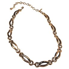 Vintage Monet Gold Tone Linked Choker Length Necklace With Hang Tag
