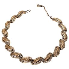 Vintage Crown Trifari Gold Tone Embossed With Rhinestones 16 Inch Choker