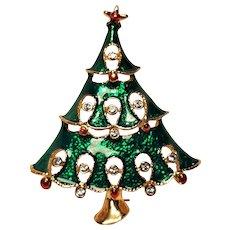 Vintage Christmas Green Enamel Tree Pin With Rhinestones and Red Enamel Ornaments
