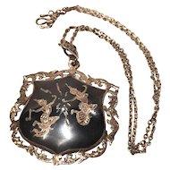 Vintage Sterling Silver Siam Neillo Filigree Shield Necklace 925