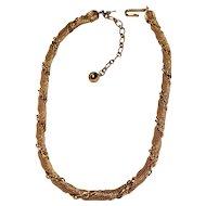 Vintage Trifari Mesh and Chain Gold Tone Choker Necklace 50's 60's Era