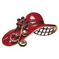 Vintage Avon Red Hat Enamel Hat With Rhinestone and Ribbon