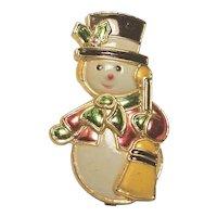Vintage Christmas Snowman Pin Made in Hong Kong Plastic