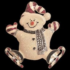 Vintage Glittered Enamel Snowman Pin With Candy Cane Skates