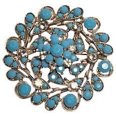 Vintage Faux Turquoise Rhinestones Silver Tone Brooch