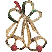 Vintage Gerry's Christmas Open Work Bells Red And Green Enamel