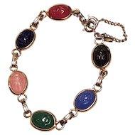 Vintage Egyptian Scarab Glass Semi Precious Stones Bracelet