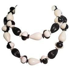 Vintage Black And White Chunky Lucite Necklace Made In West Germany