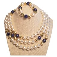 Vintage Napier Beautiful Faux Big Pearls And Faux Lapis Necklace And Bracelet Set