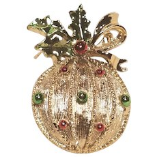 Vintage Gerry's Christmas  Ornament Pin With Holly