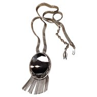 Vintage Whiting And Davis Mesh Chain With Hematite Stone With Fringe