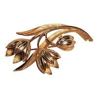 Vintage Crown Trifari Gold Tone Tulip Pin