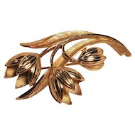 Vintage Crown Trifari Gold Tone Tulip Pin