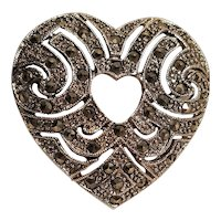 Vintage Silver Tone Marcasite Double Heart Pin