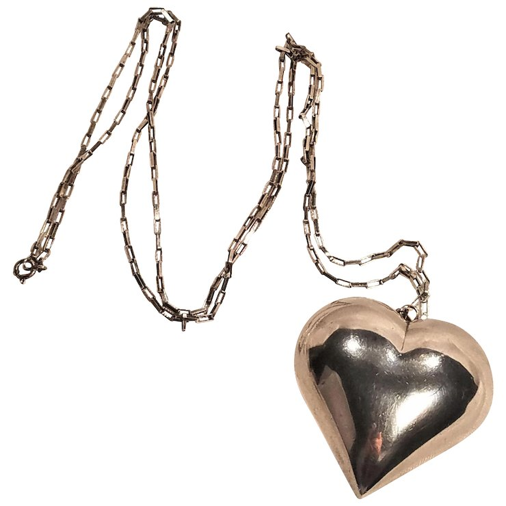 Vintage large silver plate puffy heart pendant silver 925 chain vintage large silver plate puffy heart pendant silver 925 chain aloadofball Gallery