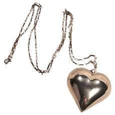 Vintage Large Silver Plate Puffy Heart Pendant Silver 925 Chain