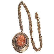 Vintage Gold Tone Locket With Beautiful Orange Glass Cabochon Stone
