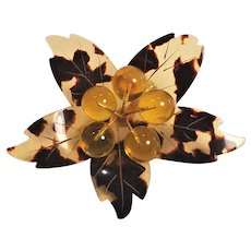 Beautiful Vintage Cellulose Acetate Faux Tortoise Shell  Flower Pin