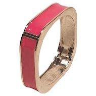 Vintage Valentine Pink Enamel Square With Round Corners Bracelet