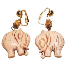 Vintage Brass Faux Ivory Elephant Clip Earrings