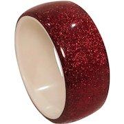 Vintage Lucite Ruby Red Heavy Glitter Bangle Bracelet